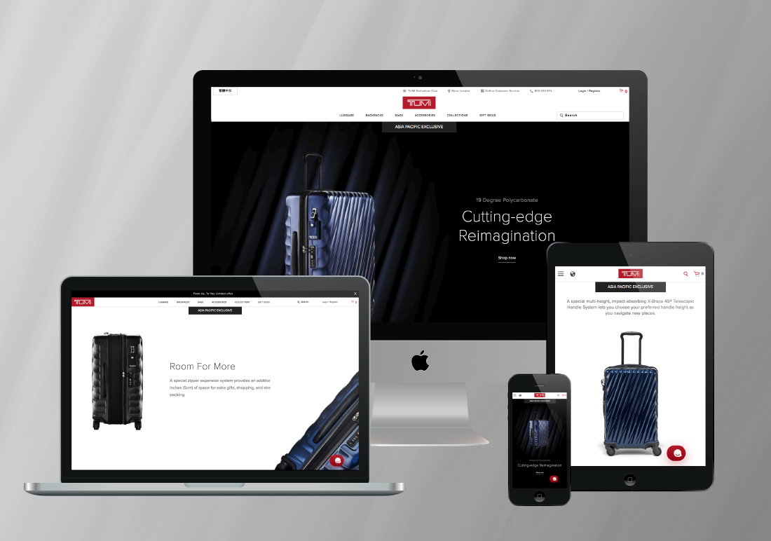 Tumi - 19 Degree Polycarbonate Product Promotional Web Page Development