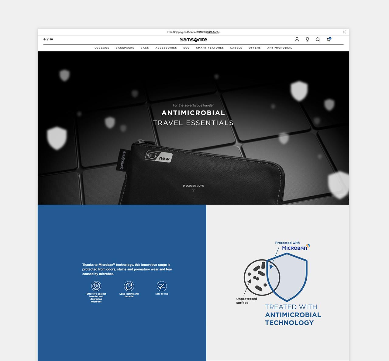 Samsonite Antimicrobial Website